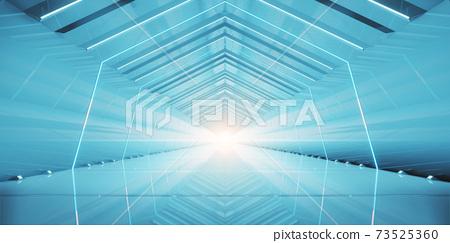 Abstract interior sci-fi spaceship corridors. futuristic design spaceship interior in blue background. 3d rendering. 73525360