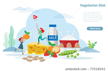 Happy women enjoy eating vegetarien diet foods, rice, milk, cheese, eggs, fruits and peanuts. Idea for balhydrates, protein, fruits and vegetables in appropriate porportion. Nutrition and diet concept 73526042