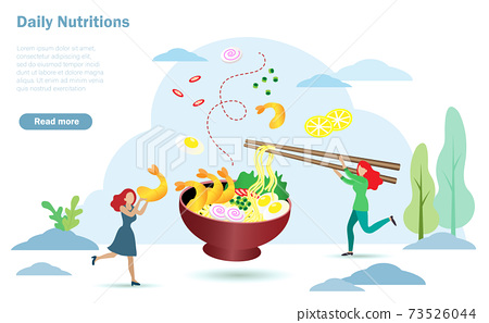Happy women enjoy eating noodle in bowl. Idea for Daily healthy foods between carbohydrates, protein, fruits and vegetables in appropriate porportion. Nutrition and diet concept 73526044