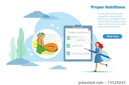 Woman checking list of daily proper nutritions with plate of healthy foods balancing between carbohydrates, protein, fruits and vegetables in appropriate porportion. Healthy nutrition and diet concept 73526045