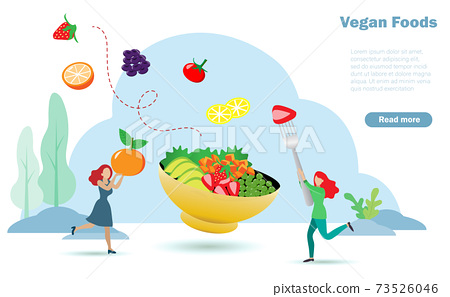 Happy women enjoy eating vegan foods, organic fruits vegetables and peas. Idea for balancing proper nutrition foods in appropriate porportion. Nutrition and diet, vegan foods concept. 73526046