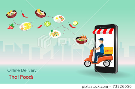 Delivery man riding motorbike from smart phone screen deliver  foods to customer. Online food delivery, Thai cusisine concept. Vector Illustration. 73526050