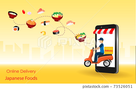 Delivery man riding motorbike from smart phone screen deliver  foods to customer with spreading of sushi, ramen and japanese food. Online food delivery, Japanese cusisine concept. Vector Illustration. 73526051
