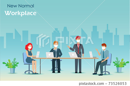 Group of businessman and woman meeting at office with face mask protecion from COVID-19 pandemic. New normal, social distancing in workplace during coronavirus spreading, medical healthcare concept. 73526053