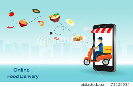 Delivery man riding motorbike from smart phone screen deliver foods to customer. Online food delivery concept. Vector Illustration. 73526054