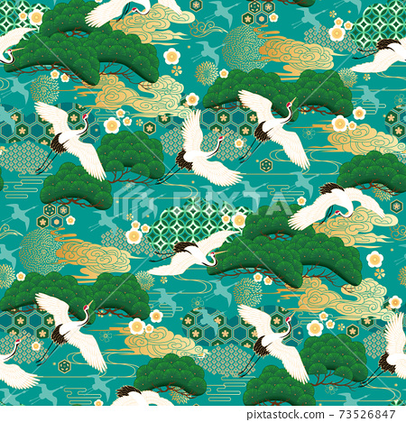 Seamless pattern with japanese cranes 73526847
