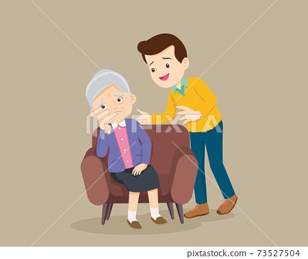 Sad elderly woman sitting and man comforting 73527504