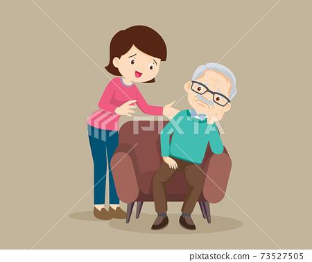 Sad elderly man sitting and woman comforting 73527505