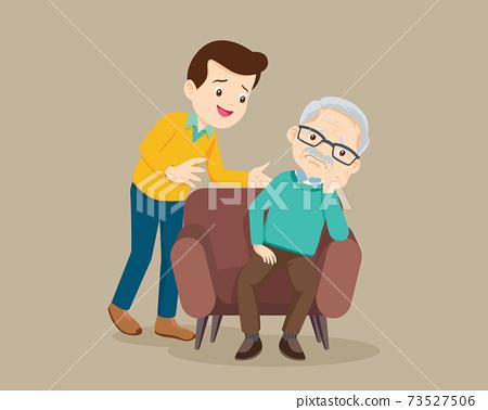 Sad elderly man sitting and man comforting 73527506