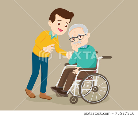 man soothes a grieving grandfather sitting on a wheelchair 73527516