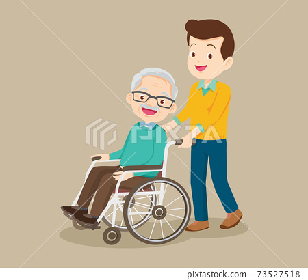 caring man and grandfather sitting on wheelchair 73527518