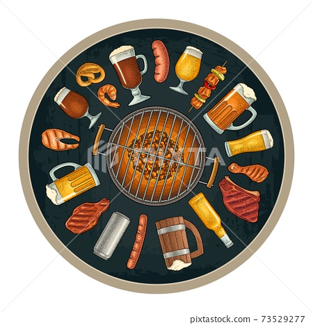 Glass beer and grill bbq food. Vector color vintage engraving 73529277