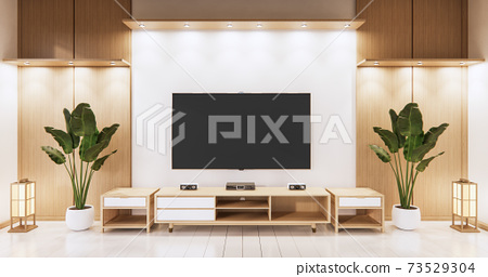 Tv on empty wall background and wall wooden japanese design on living room zen style.3D rendering 73529304