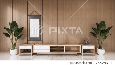 Empty wooden Cabinet on wooden room tropical style.3D rendering 73529311