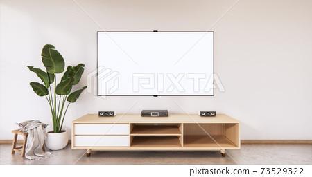 Cabinet wooden japanese design on living room zen style empty wall background.3D rendering 73529322