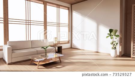 The Wooden interior design,zen modern living room Japanese style.3D rendering 73529327