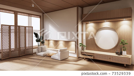 wooden cabinet in modern empty room and white wall on white floor room japanese style. 3d rendering 73529339