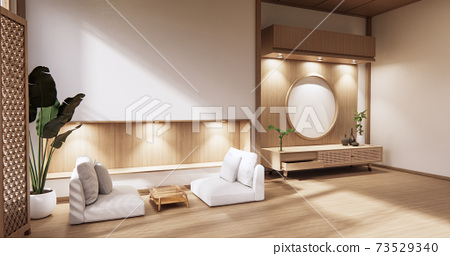 wooden cabinet in modern empty room and white wall on white floor room japanese style. 3d rendering 73529340