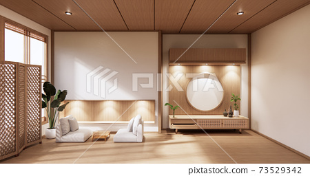 wooden cabinet in modern empty room and white wall on white floor room japanese style. 3d rendering 73529342