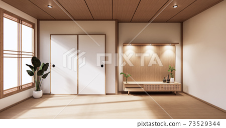 wooden cabinet in modern empty room and white wall on white floor room japanese style. 3d rendering 73529344