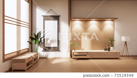wooden cabinet in modern empty room and white wall on white floor room japanese style. 3d rendering 73529349
