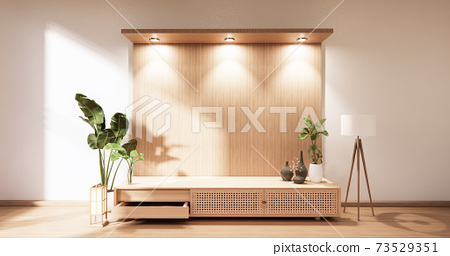 wooden cabinet in modern empty room and white wall on white floor room japanese style. 3d rendering 73529351