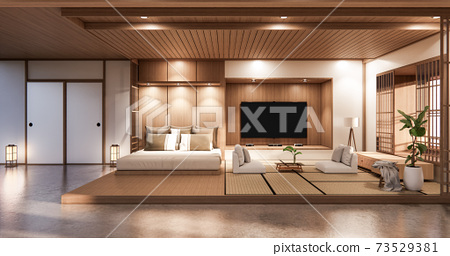 Bed room japanese design on tropical room interior and tatami mat floor. 3D rendering 73529381