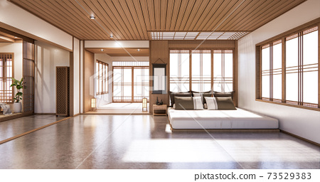 Bed room japanese design on tropical room interior and tatami mat floor. 3D rendering 73529383