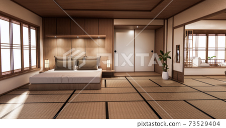 Bed room japanese design on tropical room interior and tatami mat floor. 3D rendering 73529404