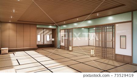 3D rendering. Mint  Japanese style room interior design orinal.. 73529419