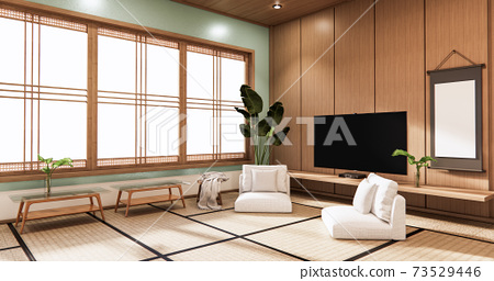 Tv on wall in mint room modern tropical style - empty room interior - minimal design. 3d rendering 73529446