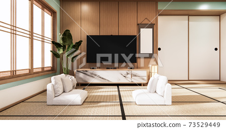 Tv on wall in mint room modern tropical style - empty room interior - minimal design. 3d rendering 73529449