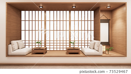 living shelf design in room japanese style minimal design. 3d rendering 73529467