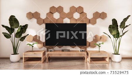 wooden cabinet tv with wooden hexagon tiles on wall and tatami mat floor room japanese style.3D rendering 73529475