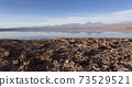 A view of Chaxa saltflat at sunset 73529521