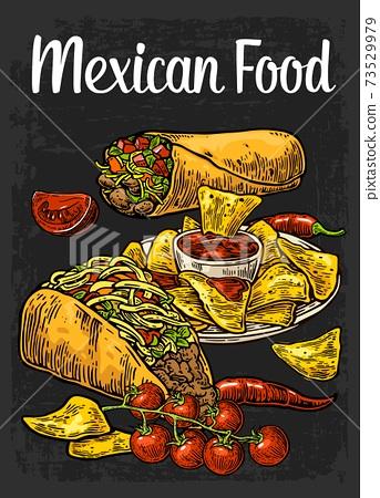 Poster Mexican traditional food. Burrito, tacos, chili, tomato, nachos 73529979