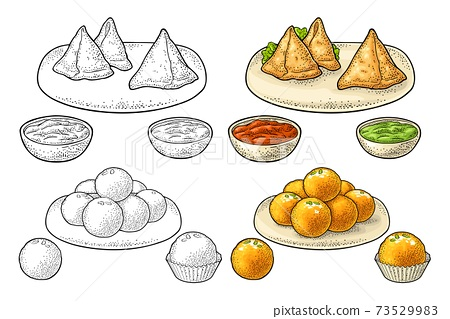 Samosa on board with sauces in bowl. Vector color engraving 73529983