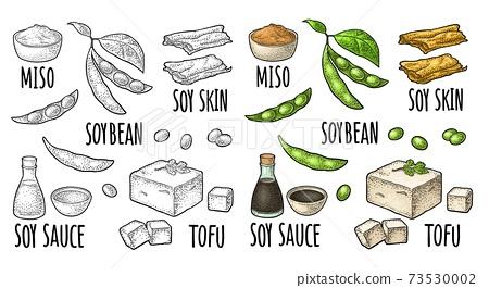 Soy food set. Miso, tofu skin, soybean, sauce 73530002