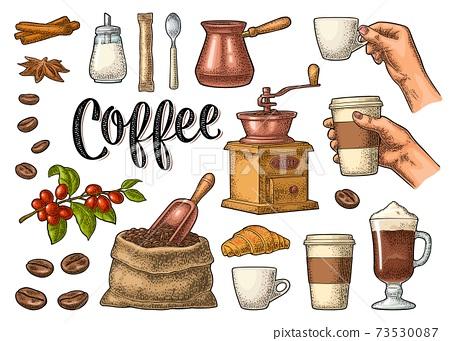 Set coffee. Sugar, beans, spoon, glass latte. Vintage vector engraving 73530087