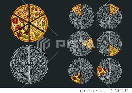 Square poster with monochrome and colorful slice pizza 73530112