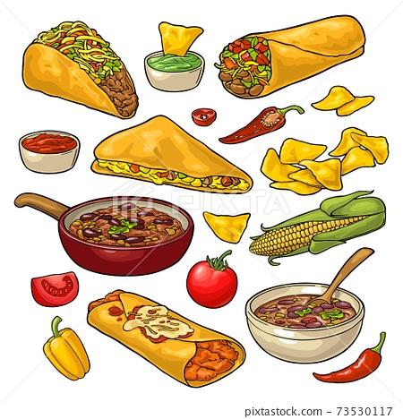 Mexican traditional food set with Guacamole, Enchilada, Burrito, Tacos, Nachos 73530117