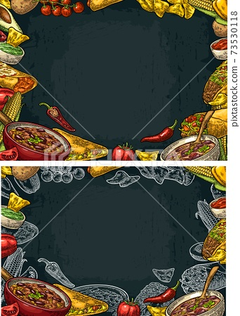 Mexican traditional food restaurant menu template with ingredient 73530118