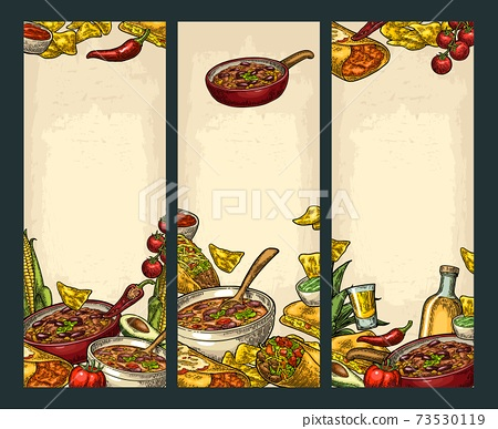Vertical poster with Mexican traditional food and ingredient. 73530119