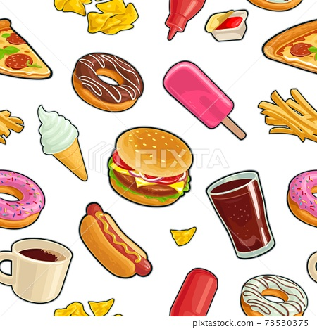 Seamless pattern fast food. Cup cola, coffee, donut, ice cream 73530375