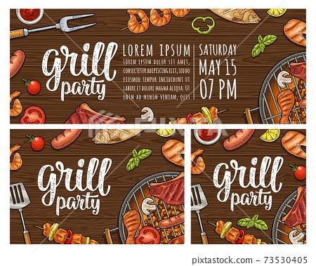 Vertical poster with bbq. Grill menu calligraphic handwriting lettering. 73530405