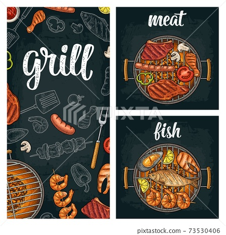 Vertical poster with bbq. Grill menu calligraphic handwriting lettering. 73530406