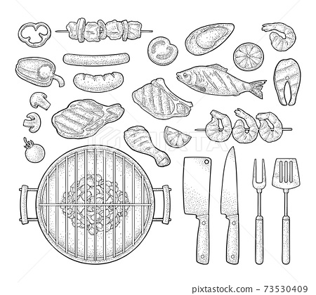 Barbecue grill top view charcoal, kebab, mushroom, tomato, pepper, steak 73530409