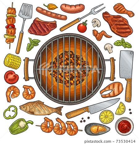 Barbecue grill top view charcoal, kebab, mushroom, tomato, pepper, steak 73530414