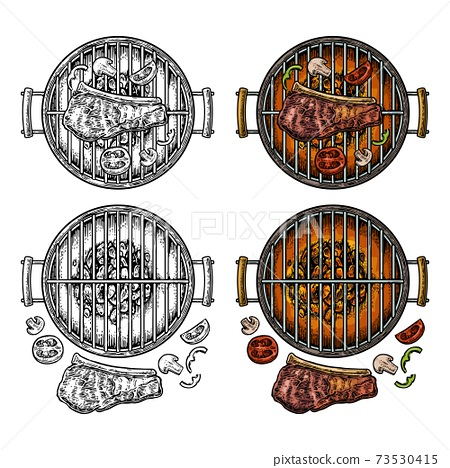 Barbecue grill top view with charcoal, mushroom, tomato, pepper, steak 73530415