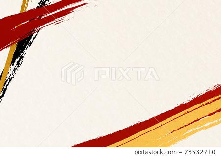 Illustration material Japanese pattern background material Japanese style Japanese paper brush calligraphy line 73532710